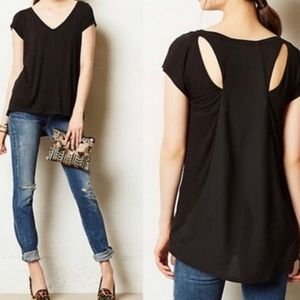 Anthropologie Deletta Black Shimmerwing Top Small